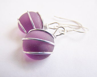Sea Glass Bridesmaids sets - Dark Plum Earrings - Glass Pearl - Other Colors Available - Weddings - affordable - seaside
