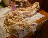 Scarf made from Upcycled Vintage linens and vintage satin rosettes and old buttons Valentines