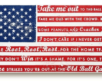 Take Me Out to the Ballgame rustic flag sign 18 X 34