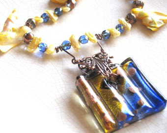 Royal blue, yellow and copper square lamp worked glass   pendant style necklace with yellow freshwater pearls