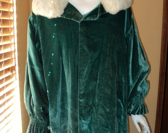 Bonwit Teller Fifth Ave NY 1920s Silk Velvet Teal Cacoon Coat Opera Coat Fur Collar Largre Size Wearable Art Piece