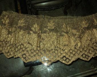 Antique Metallic Lace Bronze Gold Medium weight Dress, lampshade, pillows, supplies, yardage