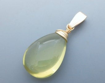 Lemon Quartz Gemstone Goldfilled Pendant EE Designs