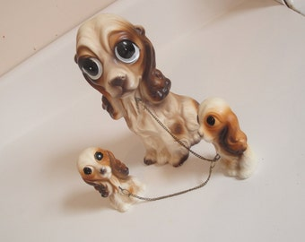 Vintage Dog and Puppies Cocker Spaniel Ceramic Figures