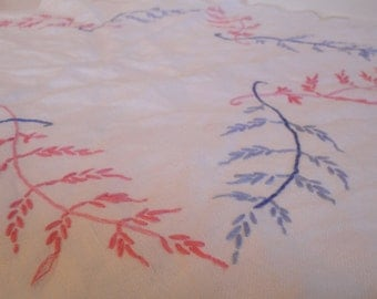 Vintage Table Cloth Embroidered Leaves Round Pink Blue