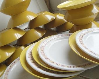 Vintage Mustard Melamine Bowls Plates set of 27