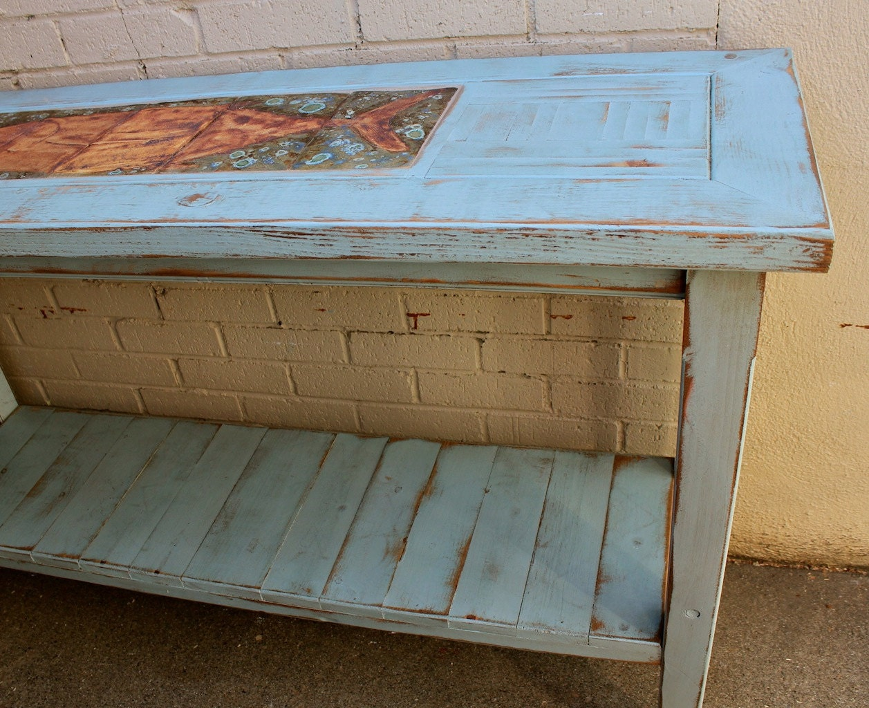 Handmade wood furniture table shabby beach cottage Homemade wooden furniture
