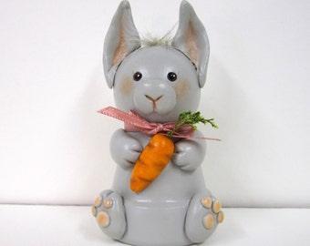 Gray Bunny w/Carrot Ornament