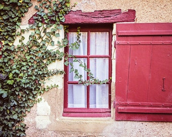 French Country Rustic Window, Green Ivy Red Shutter Window, Fine Art Photography, Color Photograph Home Decor - Ivy and Wine