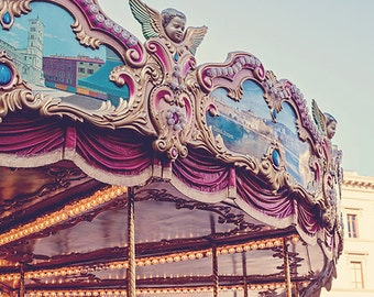 Vintage Italian Carousel Photograph, Travel Photography, Carnival Nursery Art, Classic Carnival Photography, Florence Italy - On the Piazza