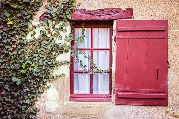 French country rustic window green ivy red shutter window for French country window shutters