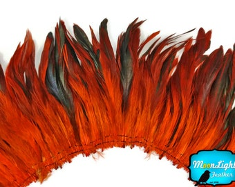Rooster Feathers, 4 Inch Strip - ORANGE Half Bronze Schlappen Strung Rooster Feathers : 319