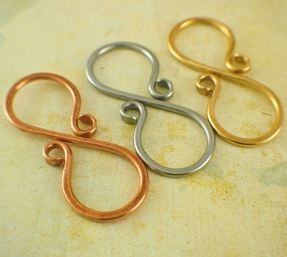 S clasps with loops large hand forged brass copper