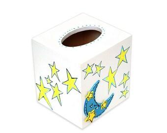 MOON and STARS Square TISSUE Box Room Decor