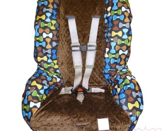 Toddler Carseat Cover Menswear Bowties with Brown