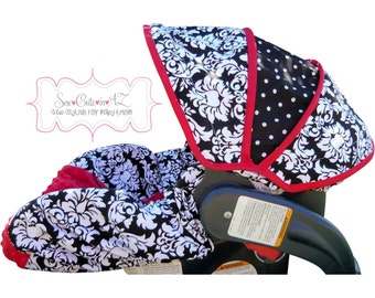 Car Seat Cover Damask with Red- Infant to Toddler