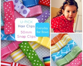 Everyday Bar Bow Hair Clips / 28 Colors / New Colors Added - U PICK - 50mm Snap Clip / Girls Bows / Girls Hair Clips