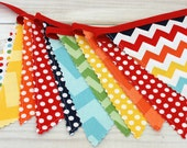 Birthday Party Decoration, Colorful Bunting, Fabric Banner, Flags, Photography Prop, Garland - Rainbow, Chevron, Dots, Red, Navy Blue