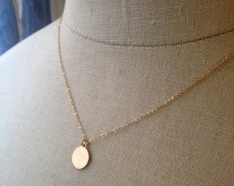 Gold Disc, Gold Circle, Plain Disc Charm, Gold Coin Necklace, Dainty Circle, Bridesmaid Jewelry, Graduation Gift