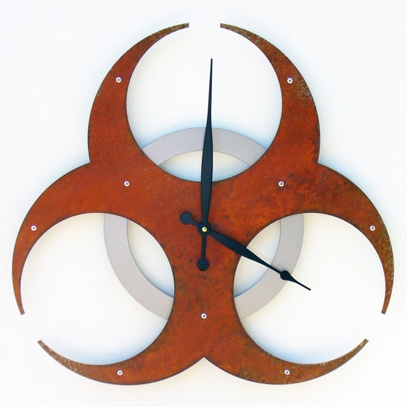 Biohazard I, Large Wall Clock, Rusted Wall Clock, rustic wall clock, unique wall clock, modern wall clock, steampunk wall clock