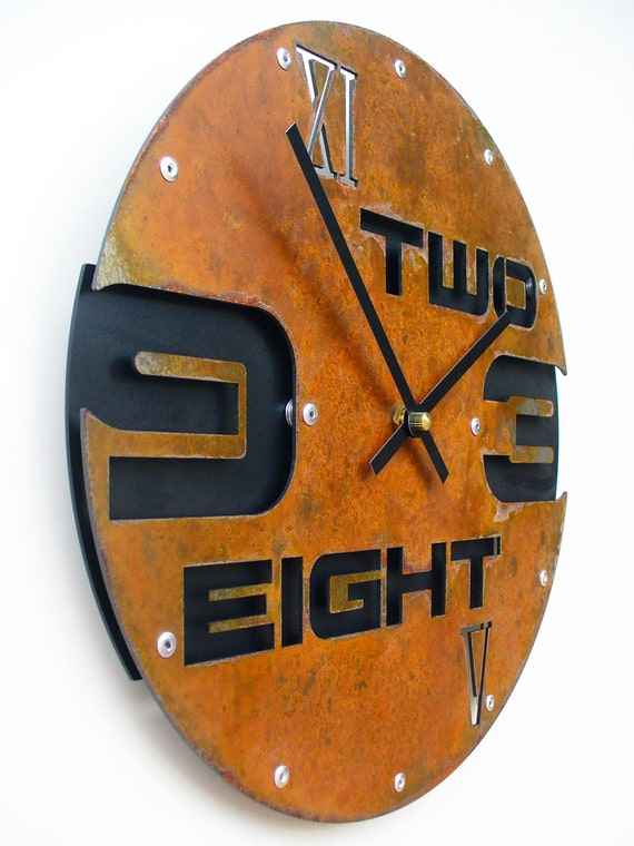 Outnumbered I, Medium Wall Clock, Rusted with Black Background, rustic wall clock, unique wall clock, modern wall clock, rustic wall decor