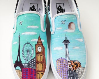 Custom Vans Shoes - Eiffel Tower and the Space Needle