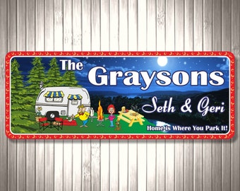 RV Camping Personalized Sign with Night Scene, Picnic Table and Dog, Campsite Sign, Camp Décor, Custom RV Sign C1138