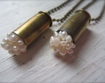 Bullet & Freshwater Pearl Cluster Pendant - Real 45 Caliber Bullet Casing with Beaded White Pearl Ball Tip