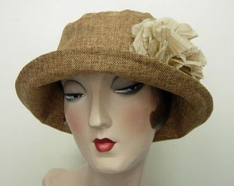La Boheme hat with large flower. Toast. FREE SHIPPING in the US.