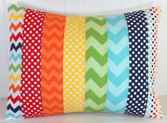 Pillow Cover, Playroom Pillow Cover, Unisex Nursery Decor, Boy or Girl Patchwork Pillow, 12 x 16 Inches, Rainbow Nursery, Rainbow Chevron