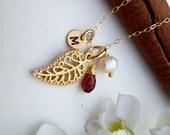 Custom Stone and Initial - Autumn Filigree Leaf, Custom Stone, Custom Initial, Pearl Necklace in 14k Gold Filled Chain