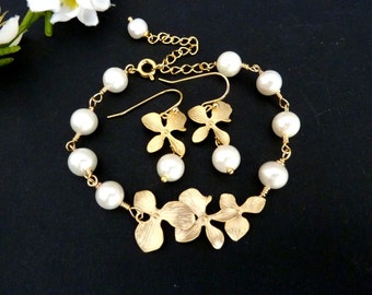 Bracelet and Earring SET - Fresh Water Pearl Golden Trio Orchid Flowers Bracelet and Earring SET
