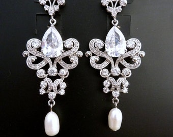 Bridal Earrings - Classy Fleur De Lis Cubic Zirconia Chandelier Fresh Water Pearl Drop Post Earrings