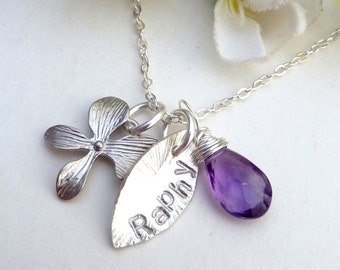 Personalized Necklace - Custom Name Sterling Silver Leaf, Orchid Flower with Custom Stone Necklace in Sterling Silver Chain
