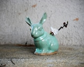Bunny rabbit planter pencil holder in mint green