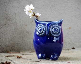 Ceramic vase - blue Pottery Vase -  flower vase - desk organizer - office gift