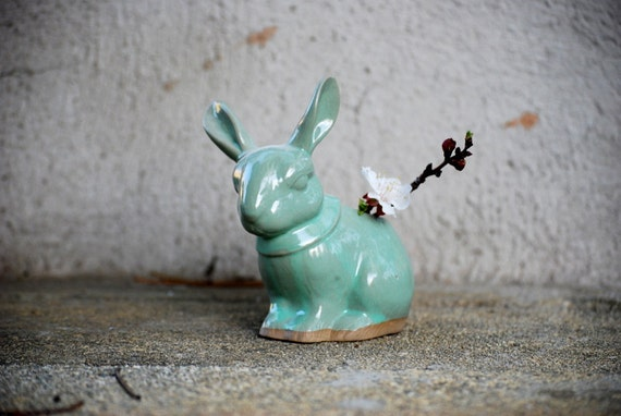 Bunny rabit planter pencil holder in mint green