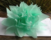 10 Cool Mint Paper Dahlia Napkin Rings. Perfect for weddings, receptions, baby showers, decor, birthdays. Tissue paper pom poms.