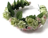 Wedding Tiara Pink Green  Roses  leaves Spring bride Gothic green flora headpiece woodland bride