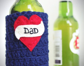 Dad Beer Bottle Soda Can Cozy fathers day funny blue red handmade cover water bottle crochet heart embroidered