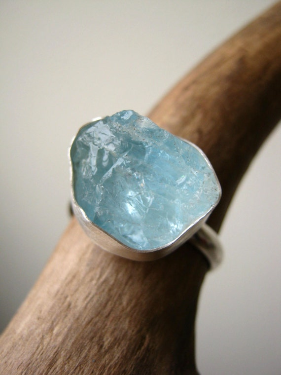 Big Rough Aquamarine Ring Sterling Silver - Ready to ship