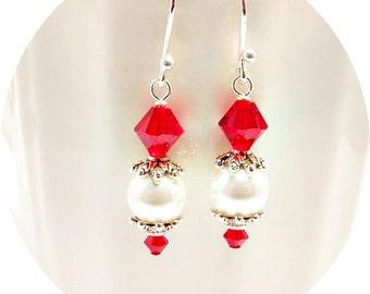 Red Earrings, Red Bridesmaid Earrings, Crystal Earrings, Red Wedding, Red Bridal, Red Drop Earrings, Red Dressy Earrings, Red Bridal Party