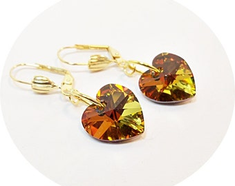 Earrings, Crystal, Orange, Yellow, Green, Sparkly, Dangle, Heart, Gold, Autumn Fashion