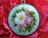 1900s Silver Locket Light Mint Green Guilloche Enamel with White Poppy & Pink Roses