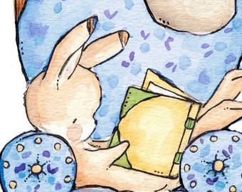 Reading Chair BLUE - Children Art. PRINT 8X10. Nursery Art Home Decor