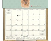 2016 CALENDAR - Yorkshire Terrier Dog Wooden  Calendar Holder filled with a 2016 calendar & an order form page for 2017.
