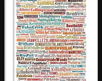 Vancouver Map - Typography Neighborhoods of Vanvouver Poster Print