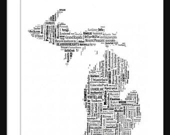 Michigan Typography Map Poster Print