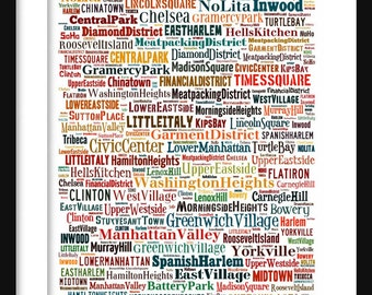 Manhattan Map - Typography Neighborhoods of Manhattan Poster Print