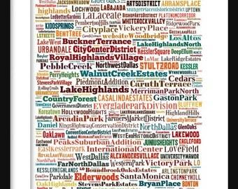 Dallas Map - Typography Neighborhoods of Dallas Poster Print